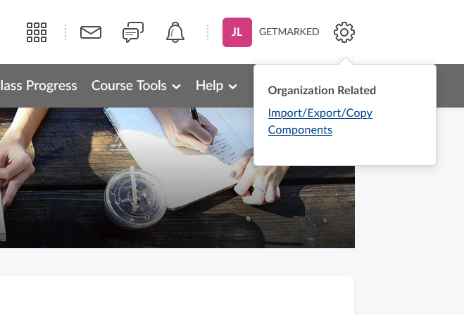 brightspace gear icon in course page