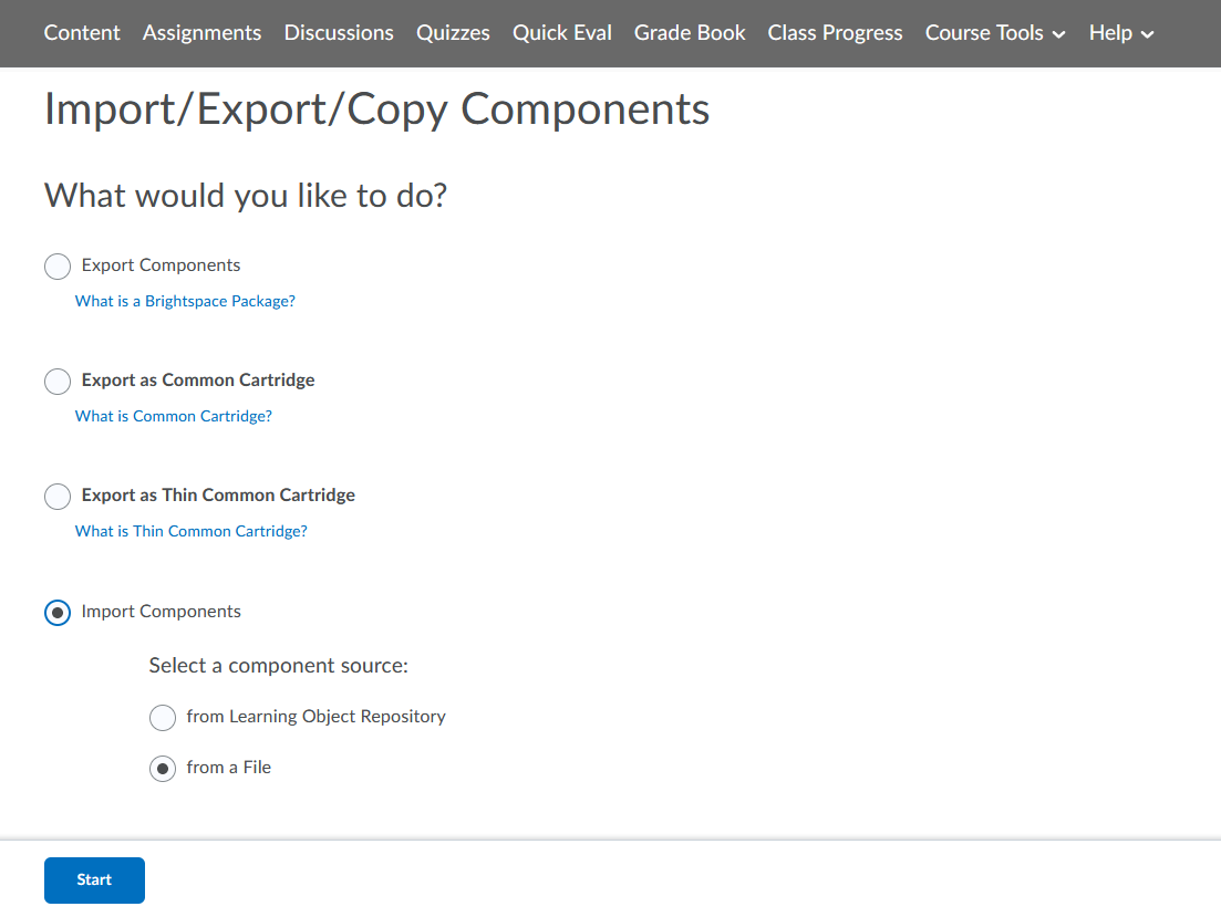 brightspace import components into course page