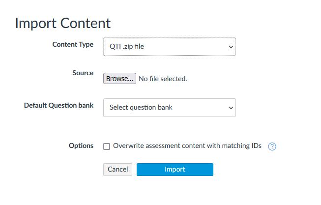 canvas import existing content page qti zip file