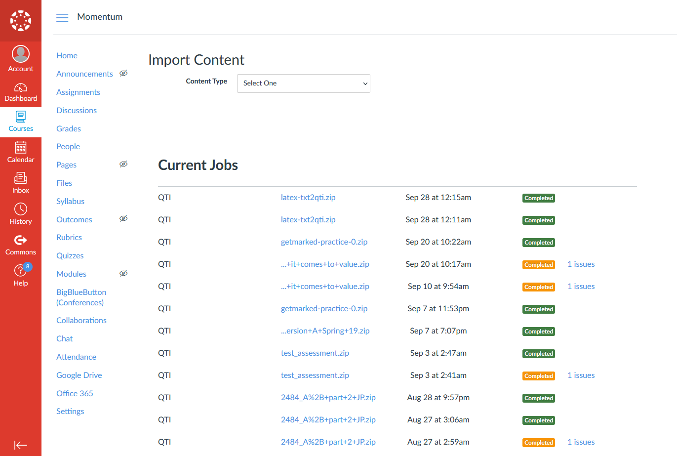 canvas import existing content page