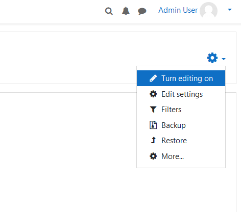 moodle lms settings gear icon